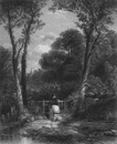 LANDSCAPES: The way to church, antique print, c1870